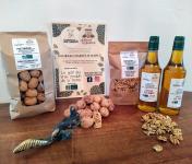 Domaine L'Hermiton - Coffret BIO noix coquille 1 kg - noix décortiqué 300 g - Huile de noix 2 x 50 cl