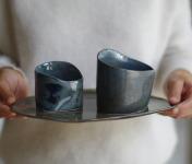 Atelier Eva Dejeanty - [Précommande] Service de Vaisselle en Céramique (grès): Assiette Taille M et 2 Bols XS et S modèle Cellule