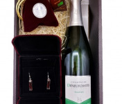 Le safran - l'or rouge des Ardennes - Coffret Champagne, Safran Et Boucle D'oreilles-) Spécial Fêtes des Mères