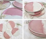 """SUBECHA Studio - Service Assiettes à Dessert x4 """"Douceur"""" Roses et Blanches"""