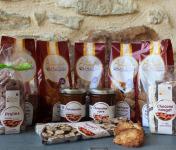Les amandes et olives du Mont Bouquet - Panier Goûter : Biscuits, Nougat, Pralines, Amandes et Pâte à Tartiner