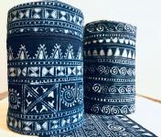 Nuage Sauvage - Boîte À Thé tissu indigo batik fait main (Noir Mat) - Ass007