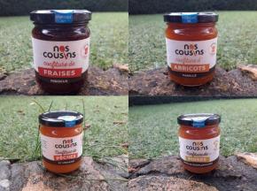 Nos cousins Conserverie - Confitures Créatives:poire-vanille-pamplemousse, Fraise-hibiscus, Pêche-verveine, Abricot-vanille X4