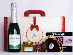"Le safran - l'or rouge des Ardennes - Coffret Rouge ""joyeuses Fêtes"" Champagne & Safran 0.25gr"