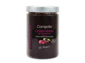 Conserves Guintrand - Compote De Cerises Noires Dénoyautées, Sans Sucres Ajoutés Yr - Bocal 580 Ml