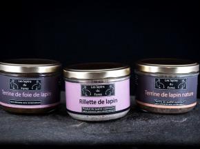 Les Lapins du Forez - Assortiment de 3 Terrines de Lapin : Rillette, Nature, Foie
