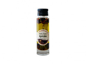 Les amandes et olives du Mont Bouquet - Huile d'olive Picholine aux épices 10 cl
