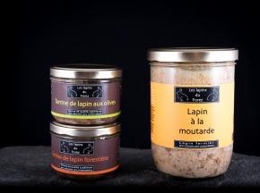 Les Lapins du Forez - Assortiment d'un Plat Cuisiné (Lapin à la Moutarde) et de 2 Terrines (Olives et Forestière)