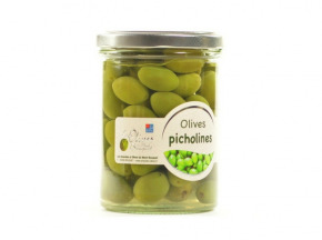 Les amandes et olives du Mont Bouquet - Pot d'olives Picholine nature 230g