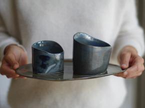 Atelier Eva Dejeanty - Service de Vaisselle en Céramique (grès): Assiette Taille M et 2 Bols XS et S modèle Cellule [Précommande]