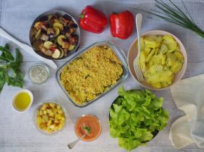 Multiproductions - Cédric Joliveau - Panier Batch Cooking Végétarien Rouge - 5 Plats pour 4 Personnes
