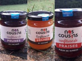 Nos cousins Conserverie - Trio De Confitures Infusées: Pêche-verveine, Fraise-fleur De Sureau, Prune-thé Noir (3x240g)