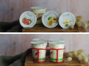 Ferme Chambon - Yaourts au Lait Cru de Vache parfums panachés: Natures x2, Vanille x2, Abricot x2, Fraise x2