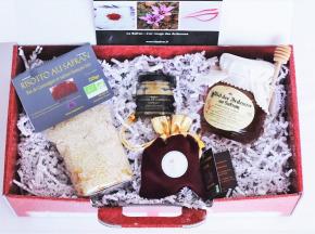 """Le safran - l'or rouge des Ardennes - Coffret Rouge """"joyeuses Fêtes"""" Gourmet"""