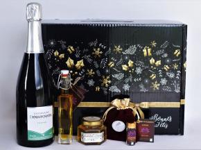"""Le safran - l'or rouge des Ardennes - Coffret Noir """"joyeuses Fêtes"""" Champagne & Safran, 75cl"""