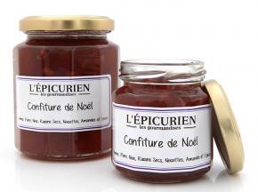 L'Epicurien - CONFITURE DE NOEL (Pomme, Poire, Noix, Raisins Secs, Noisettes, Amandes, Epices)