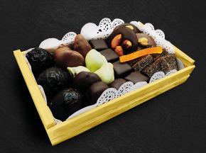 Maison du Pruneau - Assortiment Noël Et Fêtes Pruneaux Et Chocolats - Mini Cagette Gourmande 400g