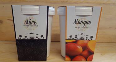 La Ferme du Logis - Assortiment de sorbets Plein Fruit : Mûre et Mangue