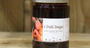 La Ferme du Logis - Confiture 4 Fruits Rouges Fraise, Framboise, Mûre et Cassis - Confiture Extra