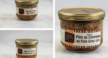 Terres d'Adour - Lot de 3 Pâtés : Graisserons de Canard, Pâté de Canard au Foie Gras, Pâté de Campagne au Foie Gras
