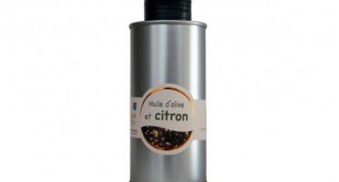Les amandes et olives du Mont Bouquet - Huile d'olive au citron frais 20 cl