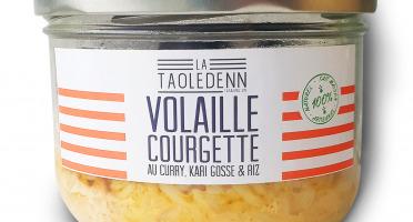 La Chikolodenn - Mijoté de morceaux de volaille au curry & kari gosse, courgettes et riz, bocal verre 280g tout prêt