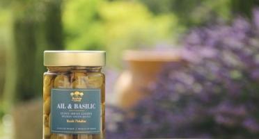 Moulin à huile Bastide du Laval - Olives Picholine cassées à l'ail basilic