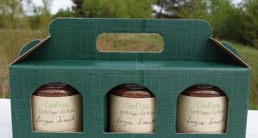 Le Ziboud'Terre - Producteur de figues - Coffret Cadeau ConFigue de Figue Longue d'aout BIO 200 g - 3 pots