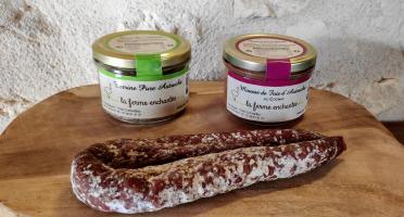 La Ferme Enchantée - Apéro'truche, Lot de 1 Terrine Pure Autruche  + 1 saucisson sec  + 1 Mousse de foie au Cognac