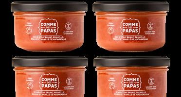 Comme des Papas - Lot De 4 Pots Bébé Dès 6 Mois - Compote Prune, Pomme Et Vanille
