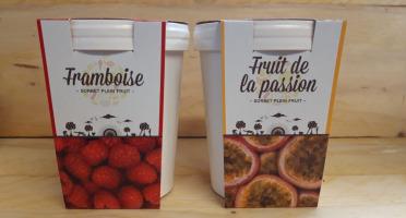 La Ferme du Logis - Assortiment de sorbets Plein Fruit : Framboise et Passion