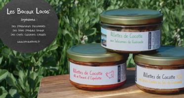 Bocaux Locos - Rillettes de Poule x3 : Piment d'Espelette, Salicorne, Citron Confit (Les Vintages : Trio de Cocottes)