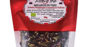 Le safran - l'or rouge des Ardennes - Mélange de thés bio Jasmin-Framboise-Coquelicot-Safran, 50g, 35 tasses