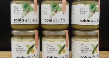 Robin des Bio - Lot De Petit Pot Bébé Bio Et Locaux - 3x Courgette Aneth - 3x Poireau Navet