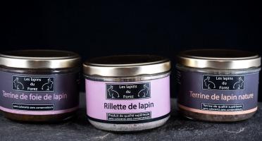 Les Viandes du Forez - Assortiment de 3 Terrines de Lapin : Rillette, Nature, Foie