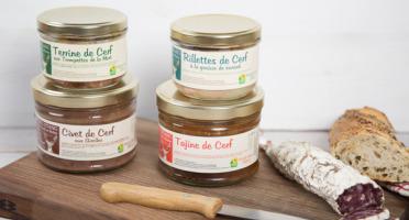 """La Ferme de l'Etang - """"autour Du Cerf"""" - Colis Découverte Tome 3 : 2 Plats Cuisinés, 2 Terrines, 1 Saucisson"""