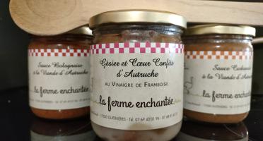 La Ferme Enchantée - Gésier et coeur confits d'autruche au vinaigre  de framboise