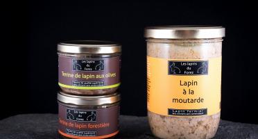 Les Viandes du Forez - Assortiment d'un Plat Cuisiné (Lapin à la Moutarde) et de 2 Terrines (Olives et Forestière)