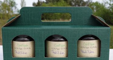 Le Ziboud'Terre - Producteur de figues - Coffret Cadeau ConFigue de Figue Pastilière BIO 200 g - 3 pots