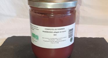 La Ferme du Montet - Compote de Pommes Framboises sans sucre ajouté BIO - 420 g