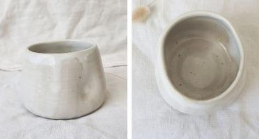 """SUBECHA Studio - Mug """"Douceur"""" Blanc Laiteux Doubles Creux Modelés au Doigt"""
