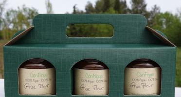 Le Ziboud'Terre - Producteur de figues - Coffret Cadeau ConFigue de Figue Grise fleur BIO 200 g - 3 pots