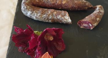 La Ferme du Montet - Saucisse sèche de Porc Noir Gascon Bio au Piment d'Espelette - 200 g