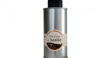 Les amandes et olives du Mont Bouquet - Huile d'olive au basilic frais 20 cl