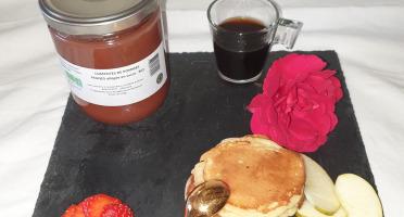 La Ferme du Montet - Compote de Pommes fraises allégée en sucre BIO - 420 g