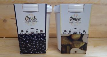 La Ferme du Logis - Assortiment de sorbets Plein Fruit : Cassis et poire