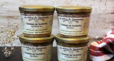 Les Délices du Scamandre - Lot de 4 Terrines de Taureau : Poivre Vert, Forestière, Figues, Raisin Noix