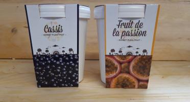 La Ferme du Logis - Assortiment de sorbets Plein Fruit : Cassis et Passion