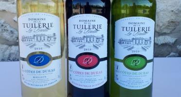 Domaine de la Tuilerie - Panachage AOP Côtes De Duras 2 Blanc Sec+2 Blanc Moelleux+2 Rouge 2018 - Coffret de 6 X 75 cl