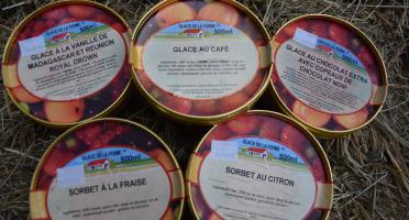 Les Glaces de la Promesse - Colis Grands Classiques: Glace Vanille , Chocolat Extra, Café, Sorbet Citron Et Fraise - 5x 500 Ml